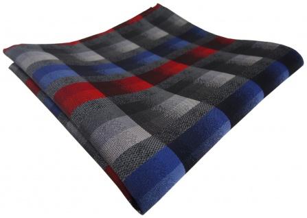 TigerTie Einstecktuch in rot anthrazit blau silber grau kariert - Stecktuch Tuch
