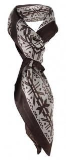 Chiffon Halstuch in dunkelbraun grau gemustert - 100% Seide - Größe 100 x 100 cm