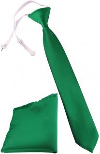 TigerTie Kinderkrawatte + Einstecktuch in grün - vorgebunden mit Gummizug