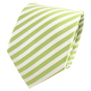 TigerTie Designer Seidenkrawatte grün hellgrün weiß gestreift - Krawatte Seide - Vorschau 1