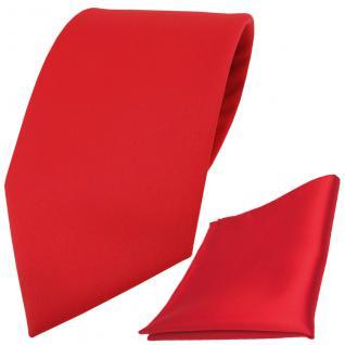 XXL TigerTie Satin Krawatte + Einstecktuch in rot Uni einfarbig