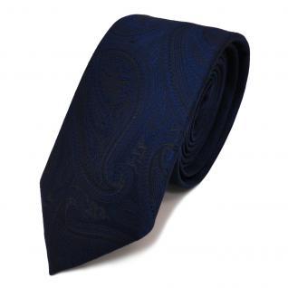 schmale TigerTie Designer Krawatte in dunkelblau marin schwarz paisley gemustert