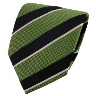 TigerTie Satin Krawatte grün grasgrün schwarz silber gestreift - Binder Tie