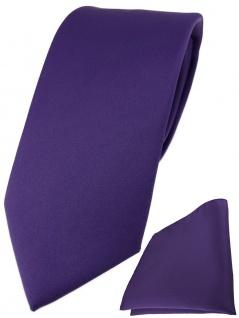TigerTie Designer Krawatte + TigerTie Einstecktuch in blaulila violett einfarbig