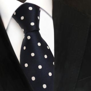 TigerTie Designer Seidenkrawatte blau dunkelblau schwarzblau weiß gepunktet