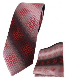 schmale TigerTie Krawatte + Einstecktuch rot weinrot silber grau schwarz kariert