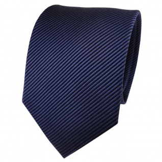 TigerTie Seidenkrawatte blau dunkelblau schwarz gestreift - Krawatte Seide Silk