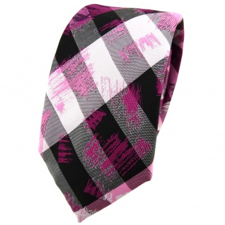 Schmale TigerTie Krawatte in pink grau silber schwarz gestreift - Schlips Binder