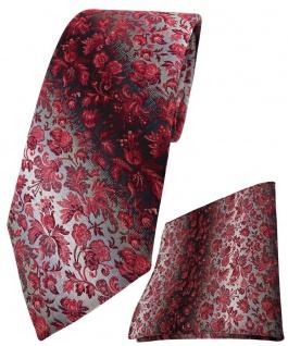 TigerTie Krawatte + Einstecktuch in weinrot roserot grausilber geblümt gemustert