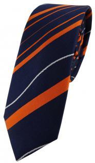 schmale TigerTie Seidenkrawatte in orange blau royal silber gestreift