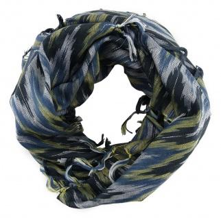 Halstuch blau silber schwarz m. Fransen - Glitzerfäden eingearbeitet- 90 x 90 cm