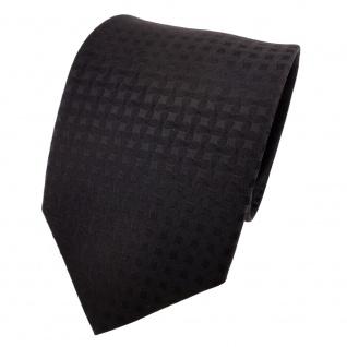 Schicke Designer Krawatte schwarz einfarbig Uni kariert - Schlips Binder Tie