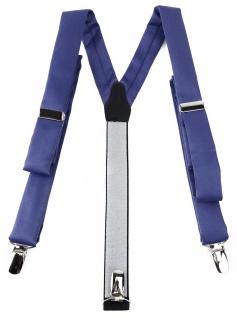 schmaler TigerTie Unisex Hosenträger mit 3 extra starken Clips - capriblau Uni