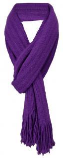 Schal in lila einfarbig mit Fransen - Schalgröße 170 x 35 cm