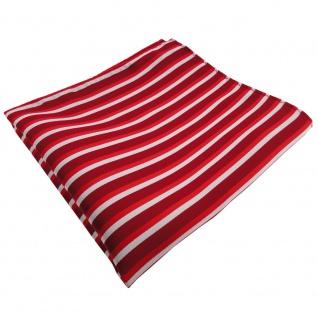 TigerTie Einstecktuch rot hellrot verkehrsrot silber gestreift - 100% Polyester