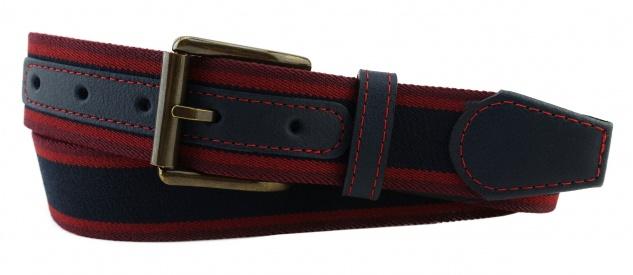 TigerTie - Stretchgürtel schwarz rot bordeaux gestreift - Bundweite 90 cm