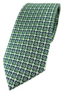 TigerTie Designer Krawatte in grün silber marine gemustert