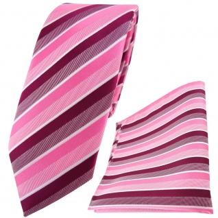 schmale TigerTie Krawatte + Einstecktuch in rosa magenta fuchsia weiß gestreift