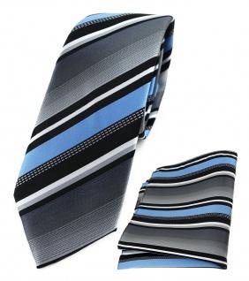 schmale TigerTie Krawatte + Einstecktuch in blau grau weiss schwarz gestreift