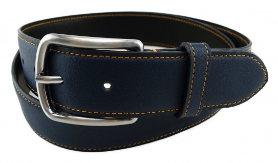 TigerTie - Rindsnappa-Ledergürtel bombiert dunkelblau, Bundweite 100 cm, kürzbar