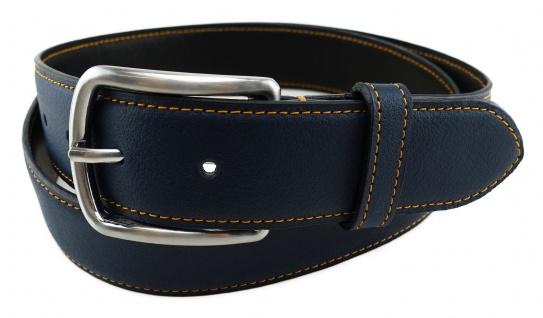 TigerTie - Rindsnappa-Ledergürtel bombiert dunkelblau, Bundweite 120 cm, kürzbar