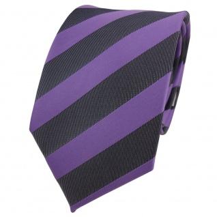 Designer Krawatte lila violett anthrazit schwarz gestreift - Schlips Binder Tie