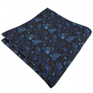 TigerTie Einstecktuch türkis ozeanblau schwarz grau paisley -Tuch 100% Polyester