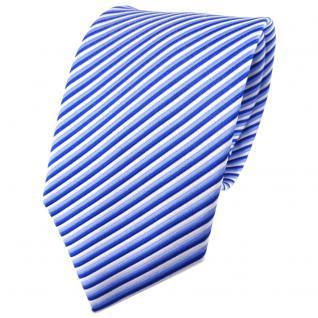 TigerTie Seidenkrawatte blau hellblau silber gestreift - Krawatte Seide Tie
