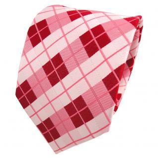 TigerTie Designer Seidenkrawatte rot rosa rosé weiß kariert - Krawatte Seide