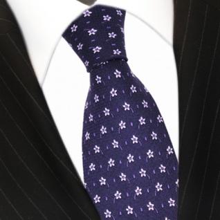 feine leichte Seidenkrawatte lila flieder geblümt - Krawatte 100% Seide Tie