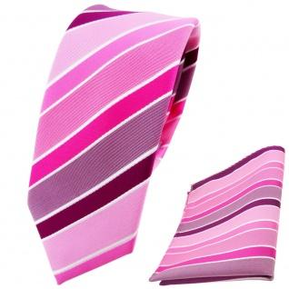 schmale TigerTie Krawatte + Einstecktuch rosa magenta pink lila weiß gestreift