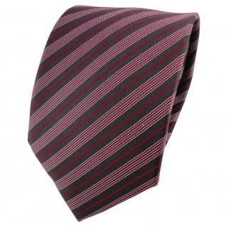 Satin Seidenkrawatte rot anthrazit silber gestreift - Krawatte Seide Tie