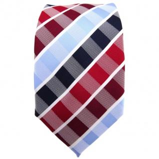 Schmale TigerTie Krawatte rot rubinrot blau hellblau weiß gestreift - Binder Tie - Vorschau 2