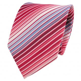 Designer Krawatte rot blau hellblau weiß creme gestreift - Binder Tie