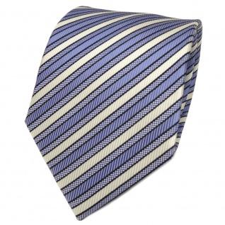 TigerTie Designer Seidenkrawatte blau hellblau weiß gestreift - Krawatte Seide
