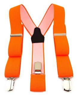 TigerTie Unisex Hosenträger mit 3 extra starken Clips- neonorange einfarbig Uni