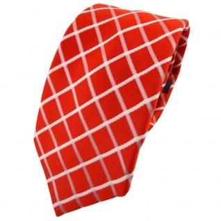 Enrico Sarto hochwertige Seidenkrawatte orange weiß kariert - Krawatte Seide