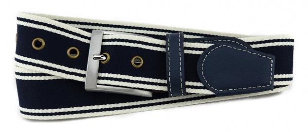 TigerTie - Stoffgürtel in dunkelblau marine creme gestreift - Bundweite 90 cm