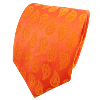TigerTie Satin Seidenkrawatte orange reinorange Paisley - Krawatte Seide Tie