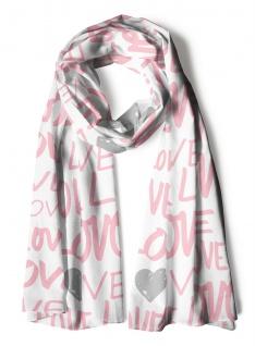 Schal in weiss rosa olivgrau gemustert mit Schriftzug Love und Herzmotive