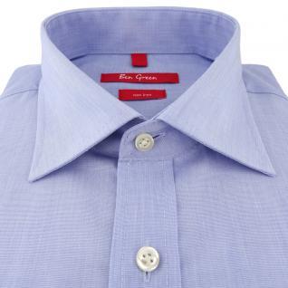 Ben Green Herrenhemd hellblau Uni langarm bügelfrei - New-Kent-Kragen Hemd Gr.44 - Vorschau 2
