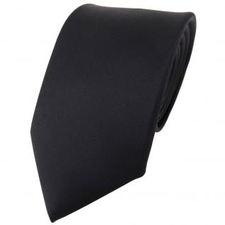 TigerTie Satin Seidenkrawatte in schwarz einfarbig Uni - Krawatte 100% Seide