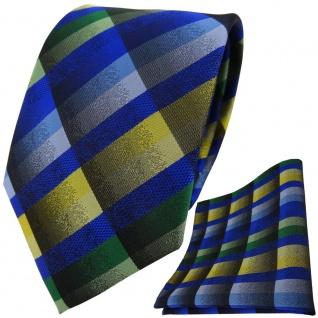 TigerTie Krawatte + Einstecktuch in blau grün grau gelb kariert - Vorschau