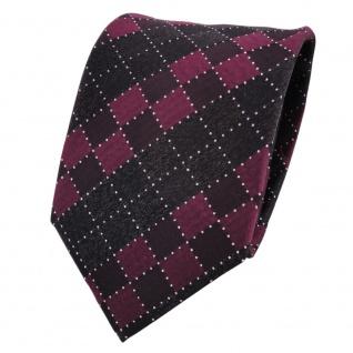 TigerTie Lurex Seidenkrawatte rot weinrot schwarz silber kariert- Krawatte Seide