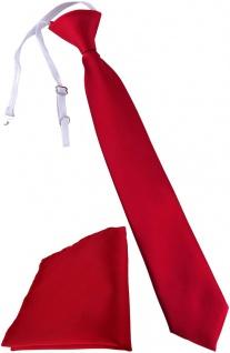 TigerTie Kinderkrawatte + Einstecktuch in rot - vorgebunden mit Gummizug