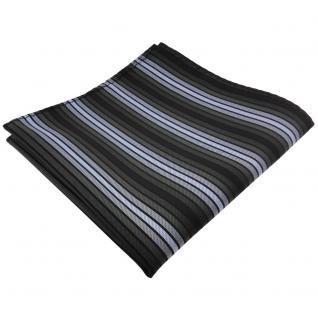 TigerTie Einstecktuch in blau anthrazit schwarz gestreift - Tuch 100% Polyester