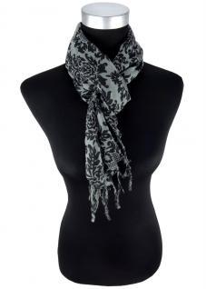 Halstuch in anthrazit grau schwarz gemustert mit Fransen - Größe 90 x 90 cm