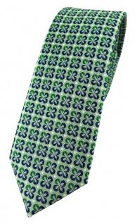 schmale TigerTie Designer Krawatte in grün silber marine gemustert