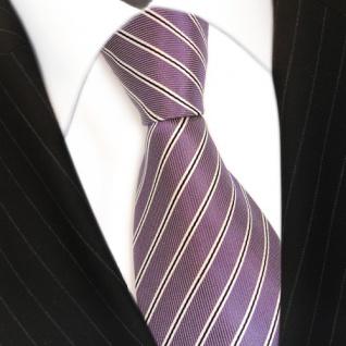 Schicke Designer Krawatte - Schlips Binder lila schwarz weiss gestreift - Tie - Vorschau 3