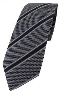 Enrico Sarto hochwertige Designer Seidenkrawatte in anthrazit schwarz gestreift